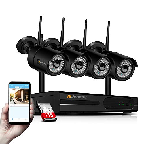 【Newest WiFi Verison & Expandable】Home Security Camera System Wireless, Jennov 8 Channel NVR 4 1080P Outdoor Camera Security System Wireless WiFi IP Bullet Cameras Video Kit With Night Vision 1TB HDD