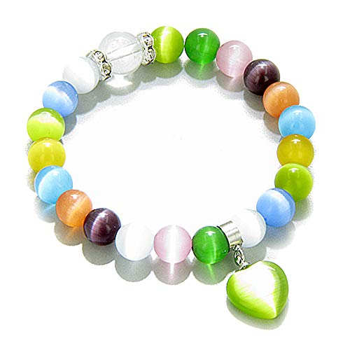 St7 Eye - Cute Crystals Multicolor Simulated Cats Eye Heart Good Luck Talisman Bracelet