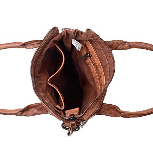 Borsa shopper lavata in pelle con doppi manici e tracolla DUDU Onyx Brown