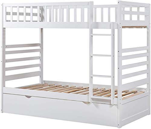 Twin Trundle Solid Wood Bunk Finish Bed, White 1