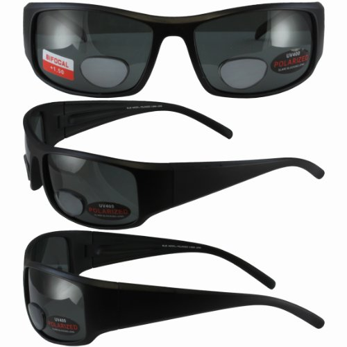 (BlueWater Polarized Bifocal 1 Sunglasses Matte Black Frames +1.5 Magnification Smoke Lenses by Global Vision)
