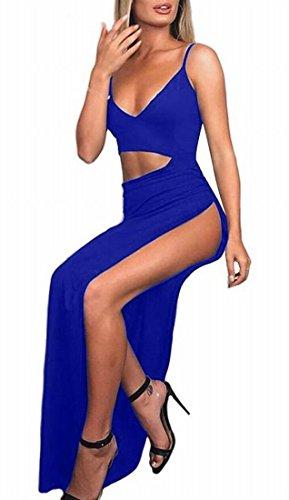 Blue Women's Dress Strap Clubwear Neck Royal Domple Maxi V Deep Sexy High Split Spaghetti 1BdxwOFnq