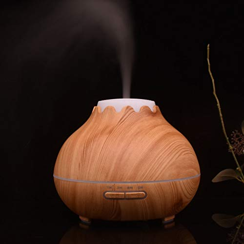YCDC B 400ml Aroma Essential Oil Diffuser, Wood Grain, Air Humidifier, with 7 Color Changing LED Lights, for Office Home 400ml Aroma Essential Oil Diffuser Wood Grain Air Humidifier with LED Lights by YCDC (Image #3)