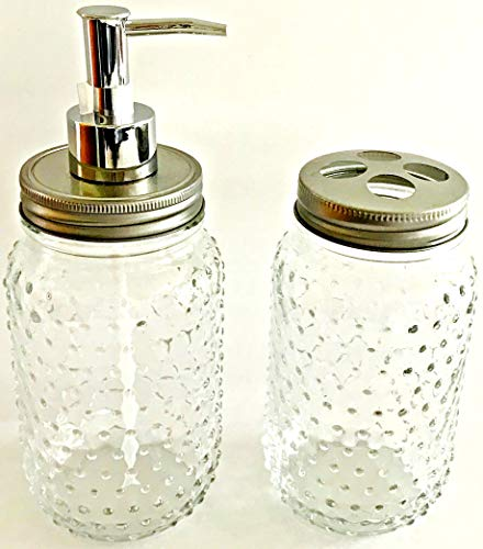 Hobnail Clear Glass Design 2 Piece Bath Accessory Set | 24 oz Soap | Lotion Dispenser | 24 oz Toothbrush Holder
