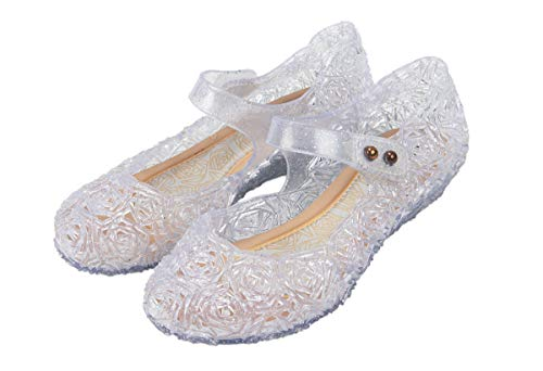 Cinderella or Snow Queen Princess Costumes Crystal Jelly Flats Shoes for Little Girls, Toddler or Kids US Size 7.5 White/Silver