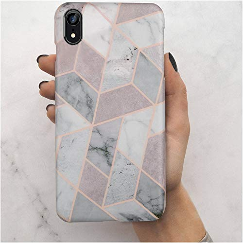 iPhone XR Case,LUMARKE Cute Geometric Grey Marble Fashion Design Men Women Girls,Slim-Fit Matte TPU Clear Bumper Soft Rubber Silicone Best Protective Thin Cover Phone Case iPhone XR [6.1]