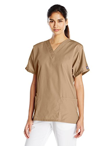 Cherokee Women's V Neck Scrubs Shirt, Dark Khaki, -