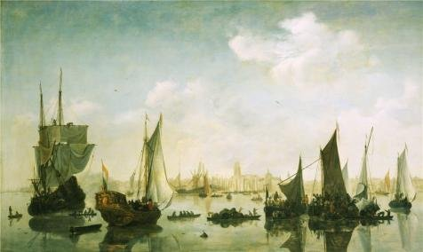 Price comparison product image Oil Painting 'Jan Van De Capelle (Follower Of) - A View Of The River Maas Before Rotterdam, C. 1645-65' Printing On High Quality Polyster Canvas , 16x27 Inch / 41x68 Cm ,the Best Game Room Gallery Art And Home Gallery Art And Gifts Is This Cheap But High Quality Art Decorative Art Decorative Canvas Prints