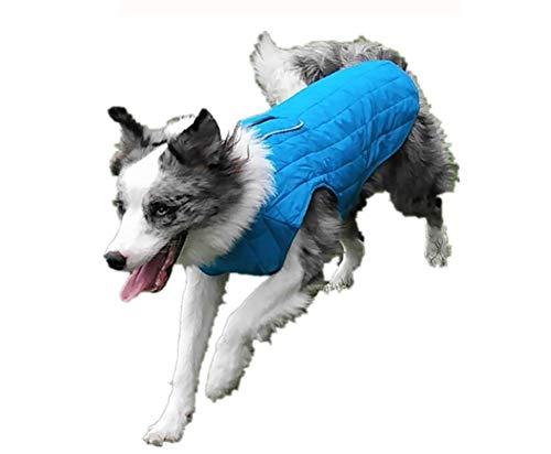 Morezi Loft Jacket, Reversible Dog Coat, Dog Coat for Cold Weather, Water-Resistant Dog Jacket with Reflective Trim - Blue - Large