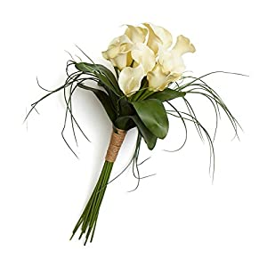 Factory Direct Craft Vinyl Ivory Calla Lily and Grass Bouquet with Jute Wrapping | for Indoor Decor 100