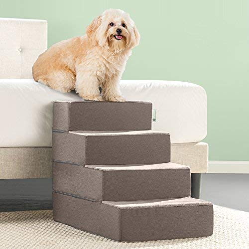 Zinus Easy Pet Stairs / Pet Ramp / Pet Ladder, Large, Sand (Dog Stairs Soft)