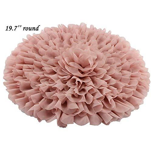 (Handcraft Soft Chiffon Round Flower Blanket Newborn Photography Props)