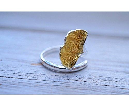 OWLZ Ginkgo-Blatt Ring, 925 Sterling-Silber