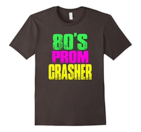 Men's 80's Prom Party Crasher Neon 80's Prom Shirt Theme Party Small Asphalt (Prom Themes)