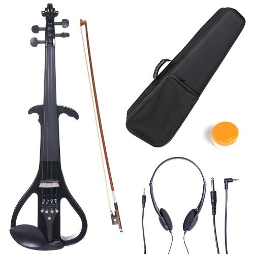 Cecilio 4/4CEVN-4BK Solid Wood Black Metallic Electric/Silent Violin with Ebony Fittings in Style 4 (Full Size) by Cecilio
