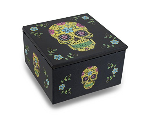 Day of The Dead Yellow Sugar Skull Dia De Los Muertos Mirrored Trinket Box