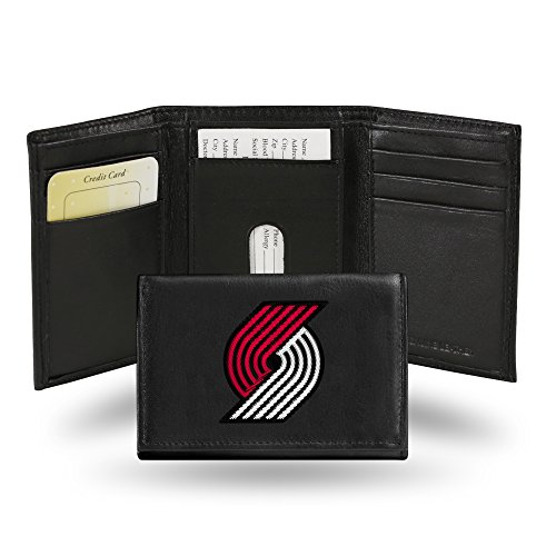 - Rico Portland Trail Blazers NBA Embroidered Team Logo Black Leather Trifold Wallet