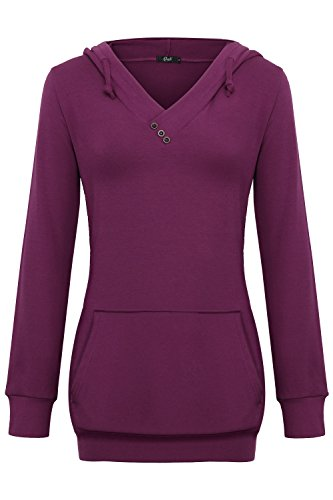 Tie Without Jacket (Creti Womens Casual Long Sleeve Hoodies Lightweight Pullover Hooded Sweatshirts, Plum, X-Large)