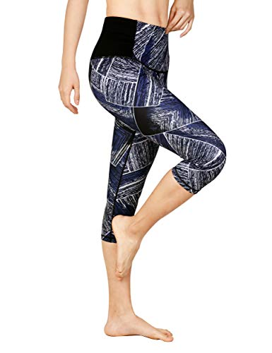 DOVPOD Printed Yoga Pants High Waist Fitness Plus Size Workout Leggings Tommy Control Capris for Women, Blue Geometric-7, Large