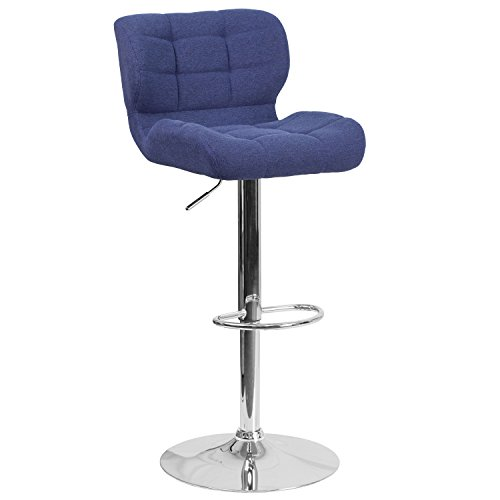 Stools Chrome (Flash Furniture Contemporary Tufted Blue Fabric Adjustable Height Barstool with Chrome Base)