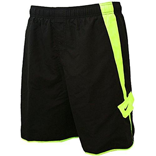 Mens Nike Boardshorts - Swim Trunks - Bathing Suit - Black with Volt Yellow Stripe (Large)