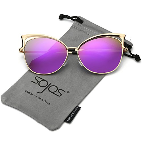 SojoS Fashion Cat Eye Style Metal Frame Women Sunglasses Lady Glasses SJ3163 With Gold Frame/Purple Mirrored - Purple Eye Cat Contacts