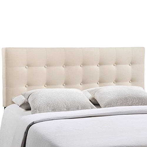 Modway Emily Upholstered Tufted Button Fabric King Size Headboard In Ivory - Make King Size Headboard