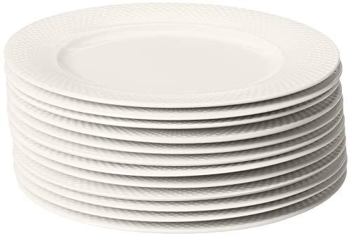 "10 Strawberry Street CATERING-12WVDIN Basket Weave 10.5"" Catering Set of 12 Dinner Plates, Cream White"