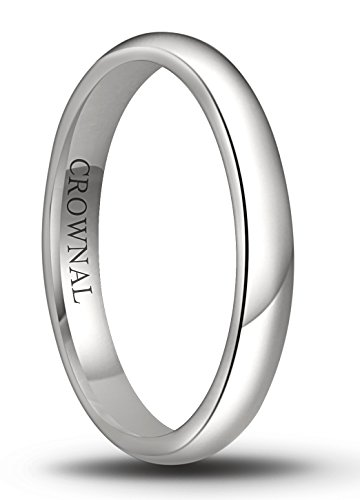 CROWNAL 6mm/5mm/4mm/3mm/2mm White Tungsten Carbide Polished Classic Dome Wedding Ring (3mm, 8.5) ()
