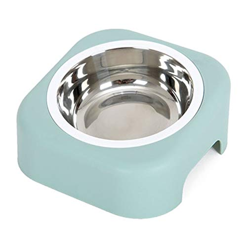 bluee ZHBWJSH Dog Bowl Stainless Steel Pet Cat Food Bowl Small and Medium Dog Rice Bowl Dog Food Bowl Drinking Water Bowl Oblique Bowl (color   bluee)