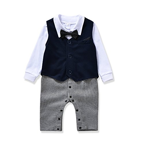 AJia Gentleman style Baby Boys Romper&Maga&Bowtie 3 Pieces Clothes Suit 2 Color (70(0-6 month), Blue)