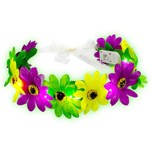LED Light-up Mardi Gras Flower Halo, Flower Wreath Crown, Fairy Halo Crown, Costume Party Accessories for Fairy Themed Party and Festivals