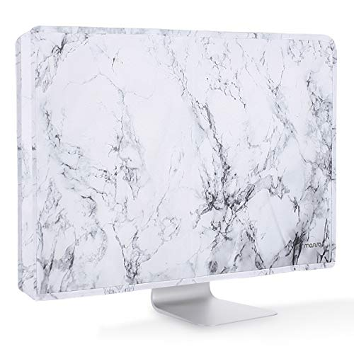 (MOSISO Monitor Dust Cover 26, 27, 28, 29 Inch Anti-Static Polyester LCD/LED/HD Panel Case Screen Dispaly Protective Sleeve Compatible 26-29 Inch iMac, PC, Desktop Computer and TV, White Marble)