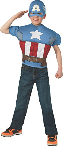 [Marvel Avengers Assemble Captain America Muscle-Chest Costume Shirt with Mask] (Marvel Super Villains Costumes)