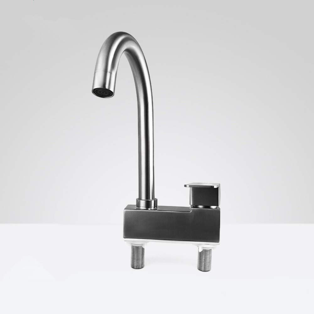 IBathUS Stainless steel double hole   hot and cold faucet bathroom three-hole wash basin sink