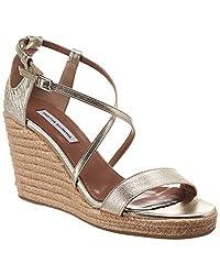 Tabitha Simmons Liu Metallic Leather Espadrille Wedge Sandal 38 Metallic
