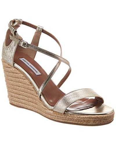 Metallic Leather Espadrille Wedge Sandal, 38, Metallic ()