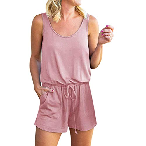 (TOTOD Rompers for Women, Summer Loose Scoop Neck Sleeveless Tank Top Drawstring Short Jumpsuit Pink)