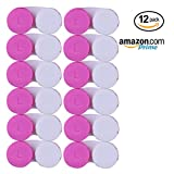 CONTACT LENS CASE - Value Pack of 12 Contact Cases. New Case Every Month For 1 Year Supply | Perfect for Home and Travel … (Pink)