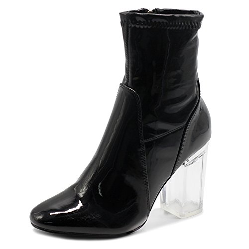 Ollio Women's Shoe Enamel Patent Side Zip Up Clear High Heel Ankle Boots MGB25 (8.5 B(M) US, Black)