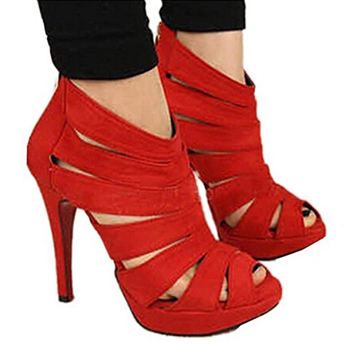 Minetom Womens Faux Suede High Heels Pumps Gladiator Sandal Strappy Open Toe Pointed Toe Shoes Party Scandals Red loKKLuprxu