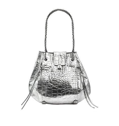 Eric Javits Luxury Fashion Designer Women's Handbag - Lil' Leigh - Silver by Eric Javits