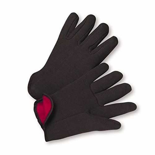 West Chester 755C 100% Cotton Brown Jersey Red Fleece Lined Gloves, Large (Pack of -