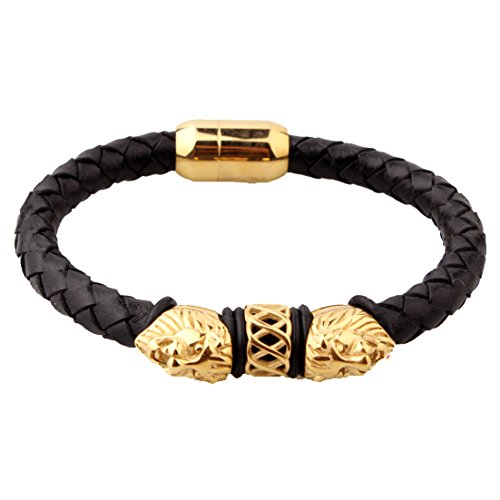 Genuine Black Leather With Gold Tone Lion Head Men Stainless Steel Bracelet
