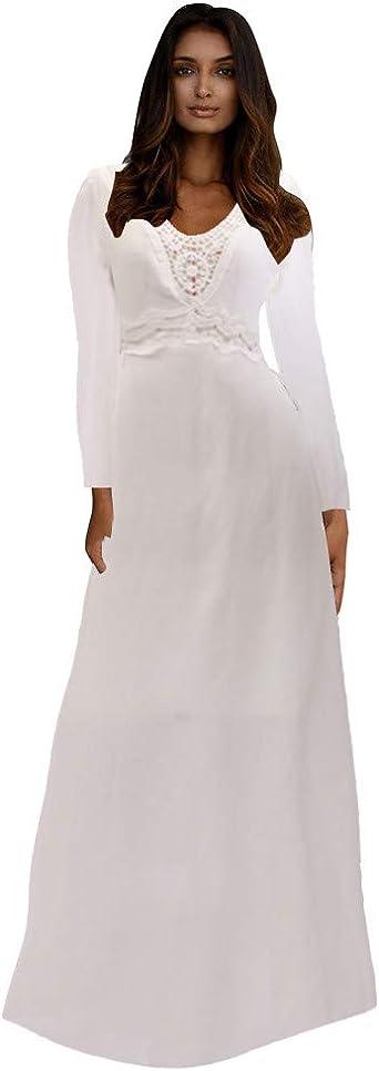 FRAUIT damska sukienka koktajlowa z dekoltem w kształcie litery V, bez plecÓw, z koronką, długie rękawy, S-XL: Odzież