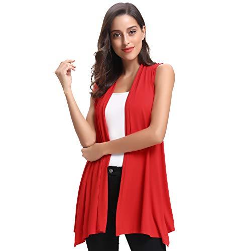 Tunic Length Vest - Luxspire Women's Causal Sleeveless Open Front Cardigan Vest Shawl Draped Asymmetric Hem, Red, X-Large