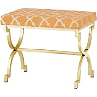 INSPIRE Q Kenza Moroccan Print Pattern Gold Plated Stool Orange