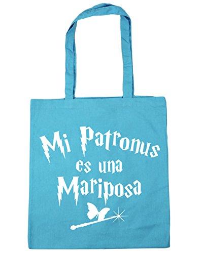 HippoWarehouse Mi Patronus es una Mariposa Bolso de Playa Bolsa Compra Con Asas para gimnasio 42cm x 38cm 10 litros capacidad Azul Celeste