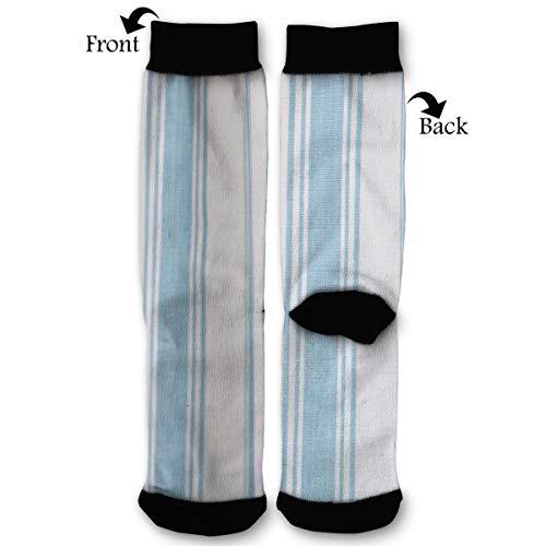 PengYou Light Blue Hampton Stripe Summer Crew Socks for Athletic,Sports,Running,Travel Socks (Summer Stripe Hamptons)