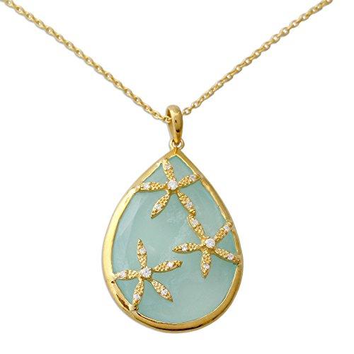 NOVICA Multi-Gem 18k, Sterling Silver Chalcedony Vermeil Pendant Necklace, 18.5